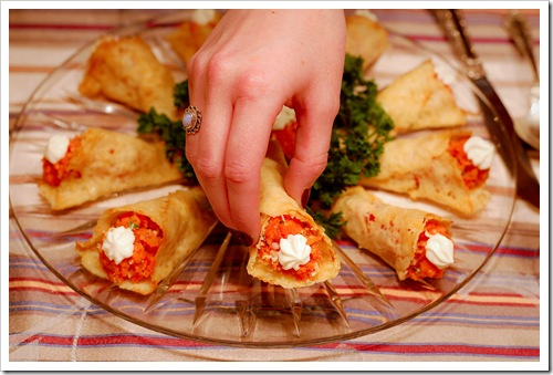 smoked salmon cones