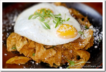 Chilaquiles with pork and apples