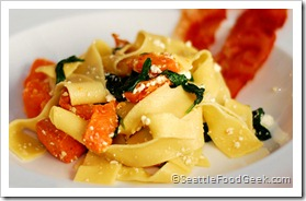 Papardelle with Sweet Potato and Spinach