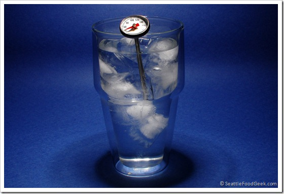 thermometer in ice water