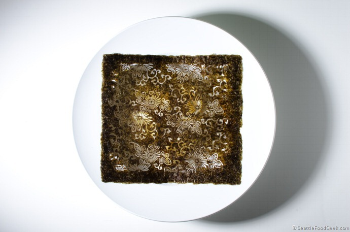 nori doily on plate