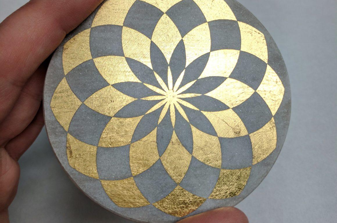 DIY Laser-Etched Gold Leaf Drink Coaster